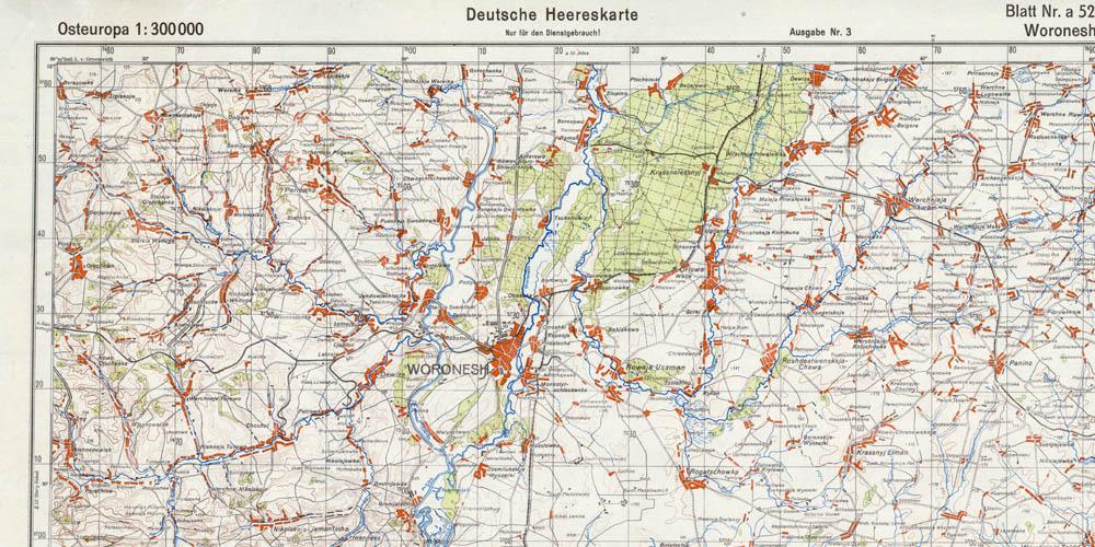 Старая немецкая карта Воронежа и окрестностей 1941 года