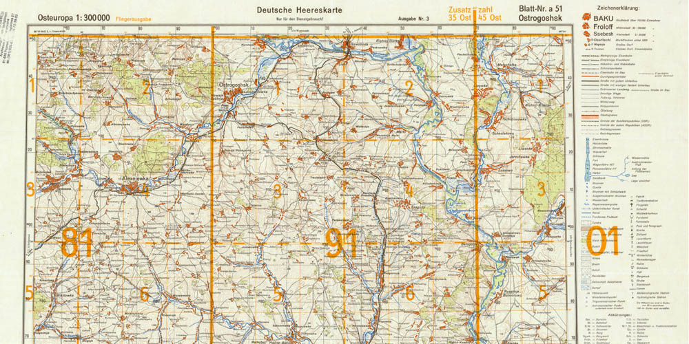 Старая немецкая карта Острогожского района 1941 года (квадраты 81 и 91)